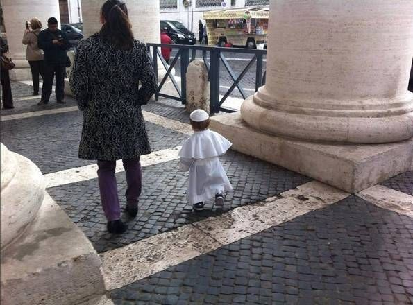"""A little Pope in St. Peter's Square"" -- And the little dress Pope conquers the web"