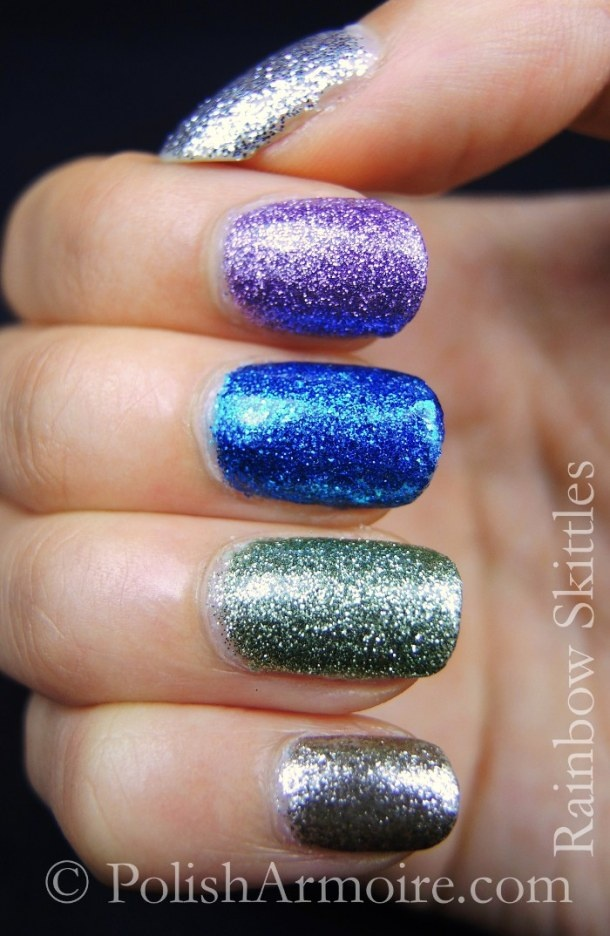 Rainbow glitter skittle nails - Bling!