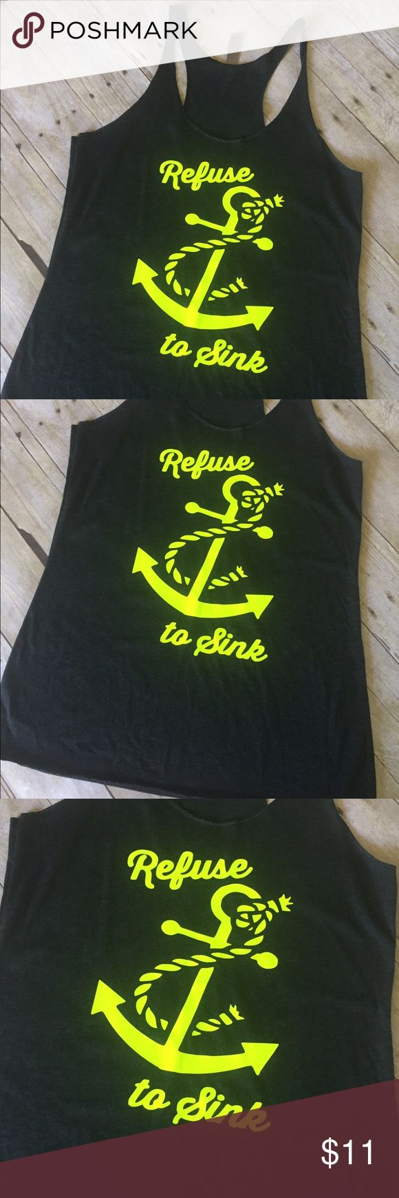 Brand new Neon yellow workout tank top Brand new boutique neon yellow racerback tank top. Flowy fit, true to size. Vintage black tank with neon yellow vinyl. Tops Tank Tops