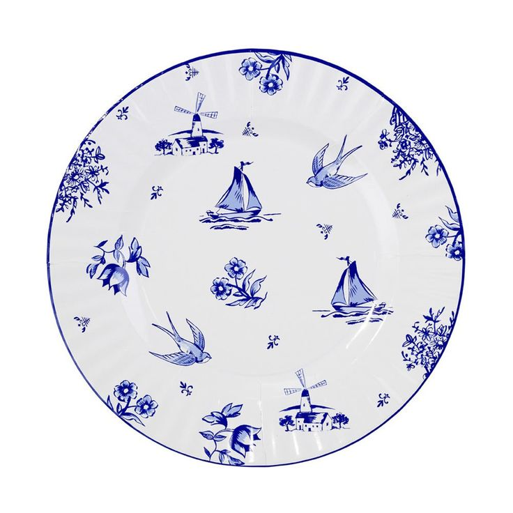 This party porcelain is in fact paper! No fine china required!  Our paper plates are cleverly created with decorative blue and white designs normally only seen on fine crockery.  8 blue and white paper plates in 2 designs. Size: 27cm diameter