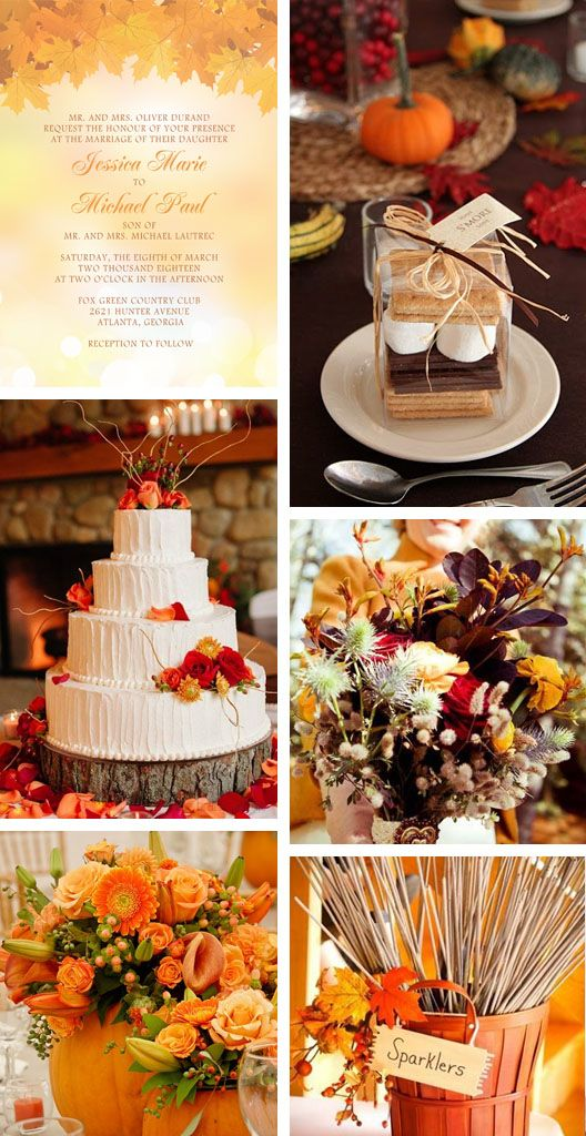 Fall Wedding Inspiration: Okay these are really nice but if you look at the date of the wedding on the invitation... March! haha