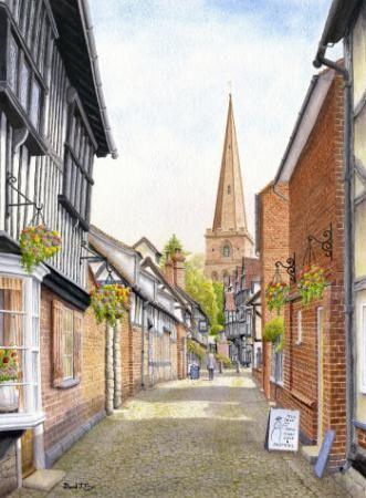 Ledbury Herefordshire P701, Paintings & Drawings by David J Fry, D Fry, SAA Professional Members' Galleries
