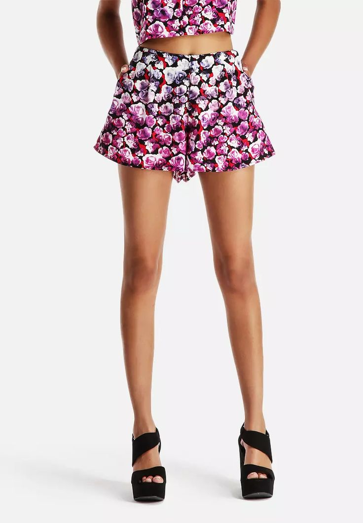 Dipped Floral Flippy Short