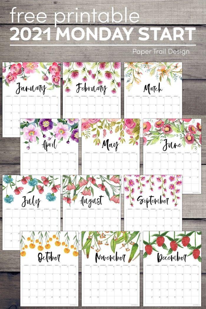 Free Printable 2021 Floral Calendar Monday Start Paper Trail Design In 2020 Free Printable Calendar Calendar Printables Planner Printables Free