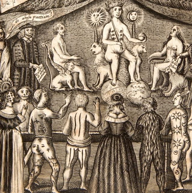European and indigenous Americans being judged at the court of Nature for modifying their bodies, from the frontispiece to John Bulwer's Anthropometamorphosiss, 1656 (via The Atlantic)