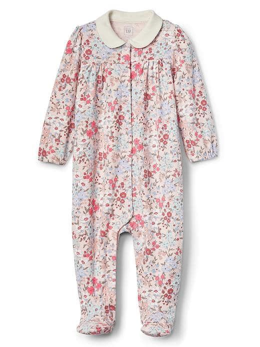 Floral peter pan footed one-piece
