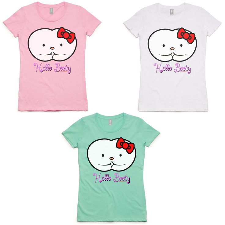 Say Hello to our Range of Hello Booty Women's Shirts by Bombshell Bums.  We're all familiar with the regular Hello Kitty T-Shirts but here at Bombshell Bums we've turned the iconic symbol up a notch or two.  Rest ASSure, as with all our apparel, these shirts are light, comfortable and of high quality.  Available in three colours - White, Pink and Mint Green.  FREE DELIVERY WORLDWIDE!