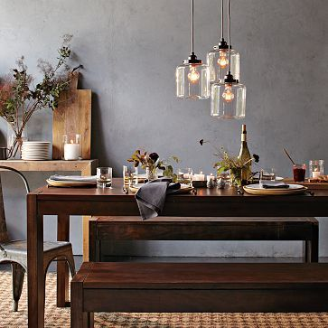 3 Jar Chandelier With Edison Style Bulbs