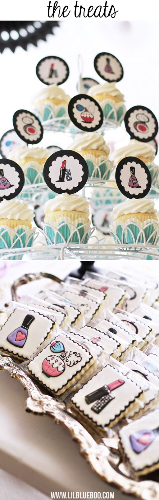 Beauty Salon Party Printables and Supplies via lilblueboo.com : The Treats