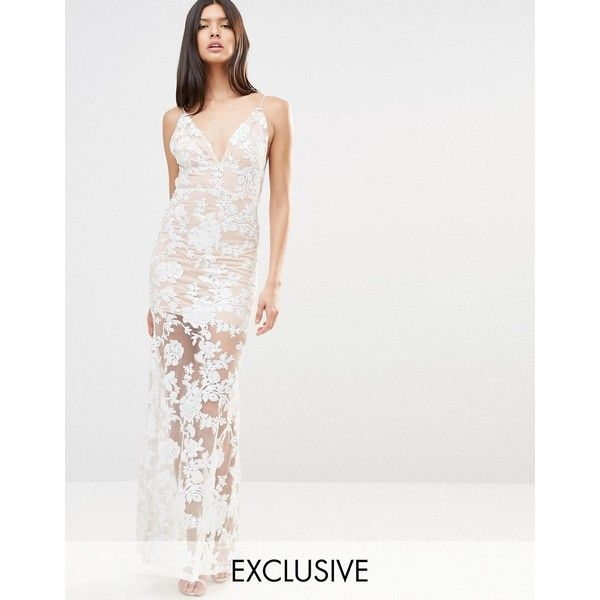 Club L Cami Strap Floral Sequin Fishtail Backless Maxi Dress ($85) ❤ liked on Polyvore featuring dresses, cream, sequin cocktail dresses, maxi slip, floral cocktail dresses, v-neck camisoles and v neck cocktail dress