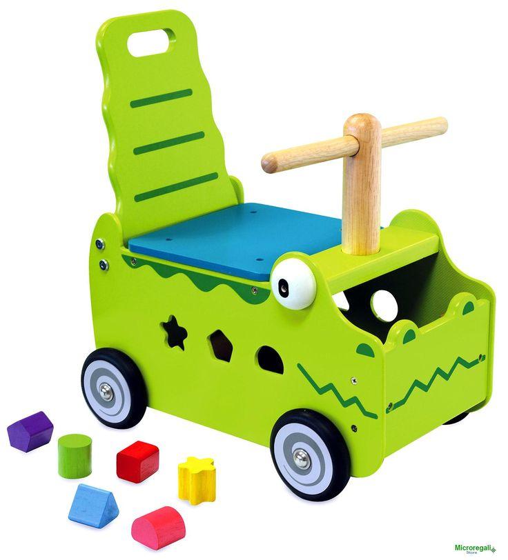 CARRELLINO CAVALCABILE in Legno COCCODRILLO cm 35x27x44 h - Seduta cm 20 h per bambini. Primi Passi. I'm Toy.Le prime esperienze a