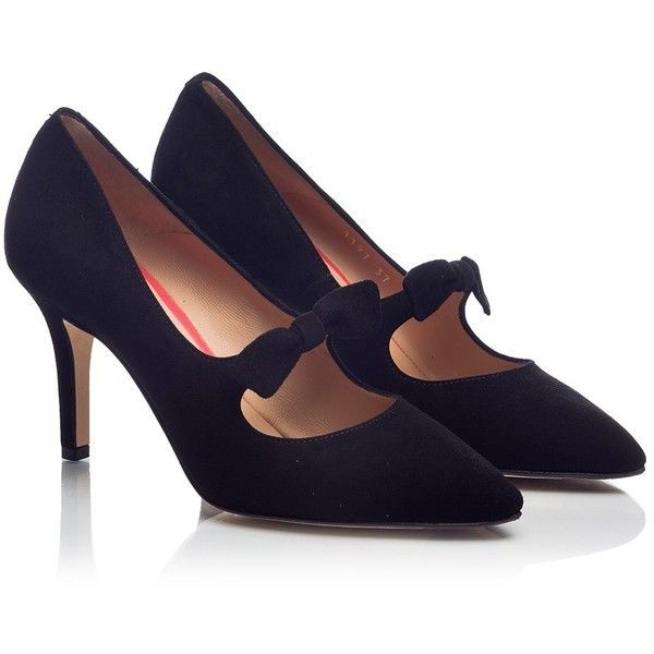 Pas De Rouge - JANET Black suede leather bow embellished Mary Jane... (€211) ❤ liked on Polyvore featuring shoes, pumps, heels, black, mary jane pumps, black pumps, suede mary jane pumps, black mary jane shoes and black stiletto pumps