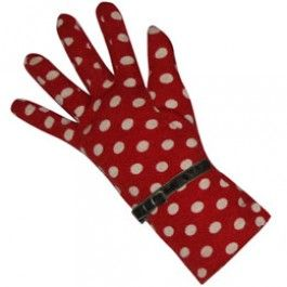 Red Spot Jersey Gloves