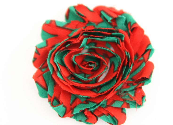 Christmas Shabby Chic Flower Red and Green Stripes