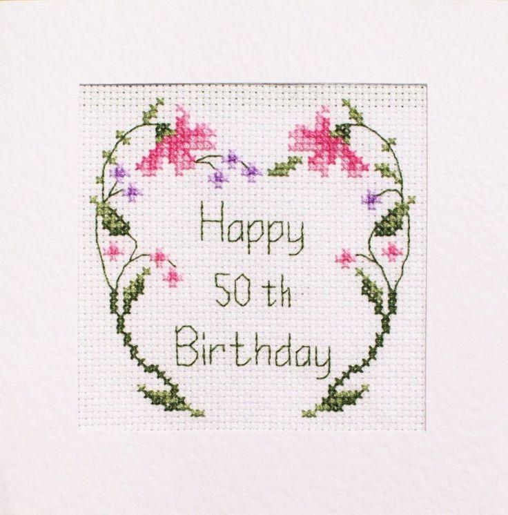 50th Birthday Card Cross Stitch Kit ⭐️ 3 Different Designs