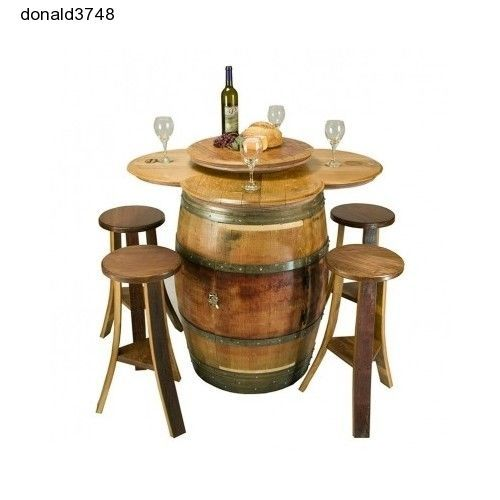 Napa East Wine Barrel 5 Piece Counter Height Table Set  Cabinet Base  Lazy Susan #NapaEast
