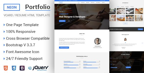 Download NEON u2013 Personal Portfolio HTML5 Template Projetos para - resume html template