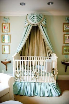 Love muted mint and neutral tones!! Elegant victorian baby nursery decor using modern furniture! Bravo!