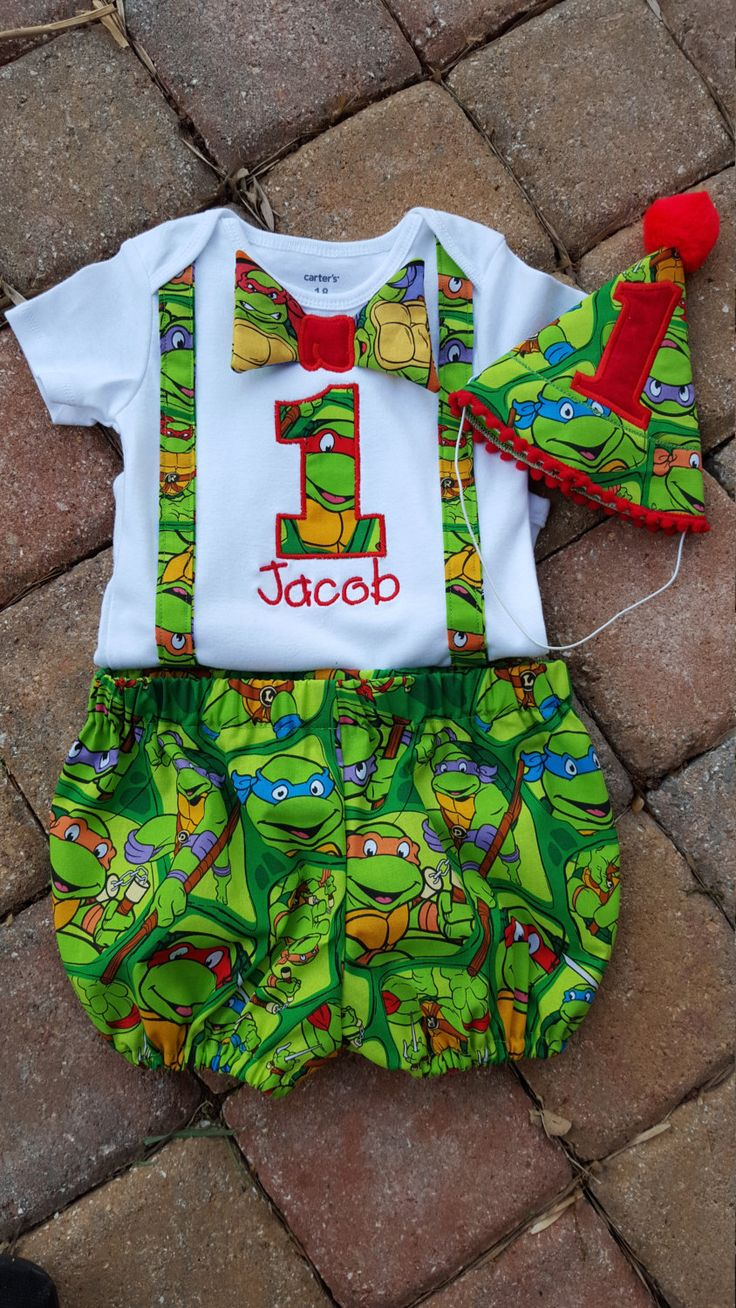NINJA TURTLE SmaSH CaKe seT, Red, Raphael, FiRsT BirThdaY, Photo op, Boys Birthday, TMNT, Personalized, Themed birthdays, party hat, by Catiesquiltcorner2 on Etsy