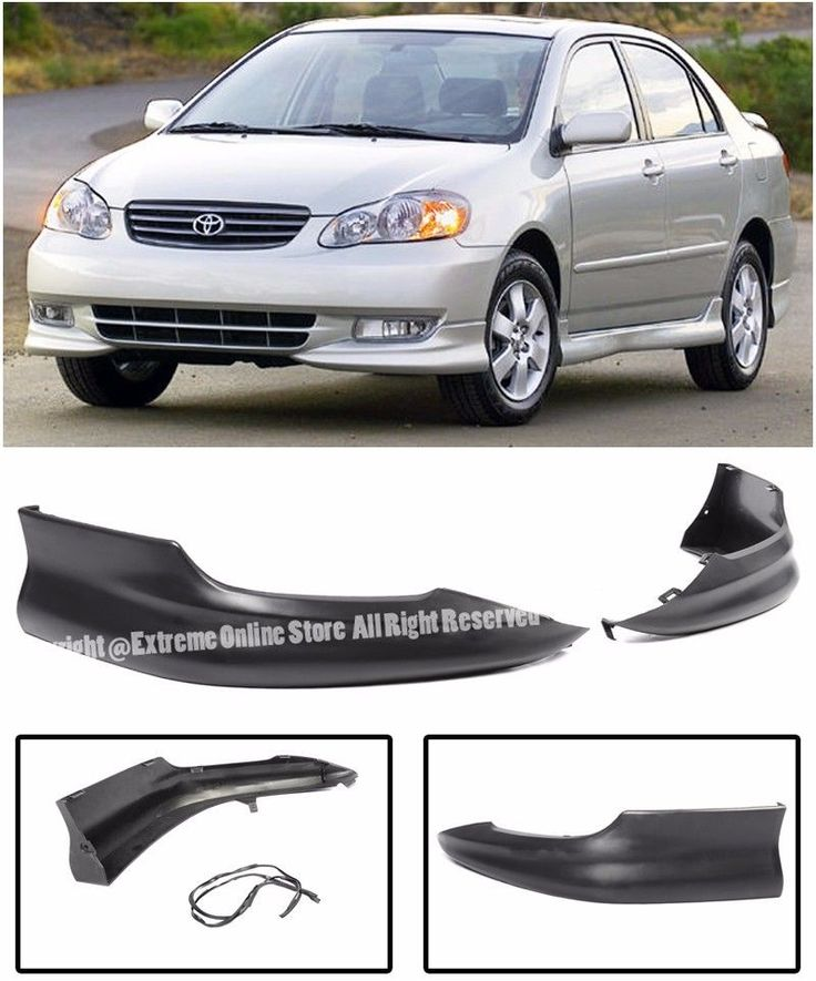 Cool Awesome S Style Front Bumper Left & Right Lower Lip Spoiler Kit For 03-04 Toyota Corolla 2017/2018