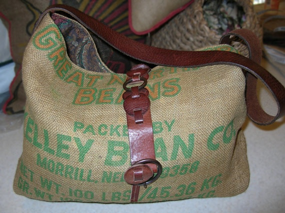 Handmade Burlap Feed Sack Handbag Tote Bag Using Leather Belts And Ralph Lauren Fabric Lining By