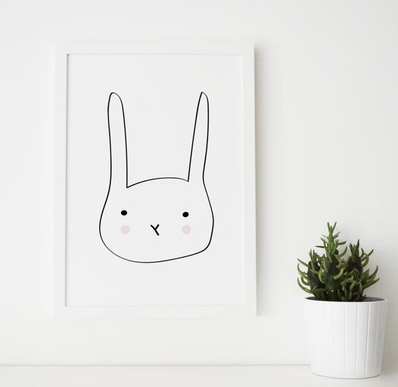 Rabbit Illustration Printable Nordic by RoryandTheBean on Etsy