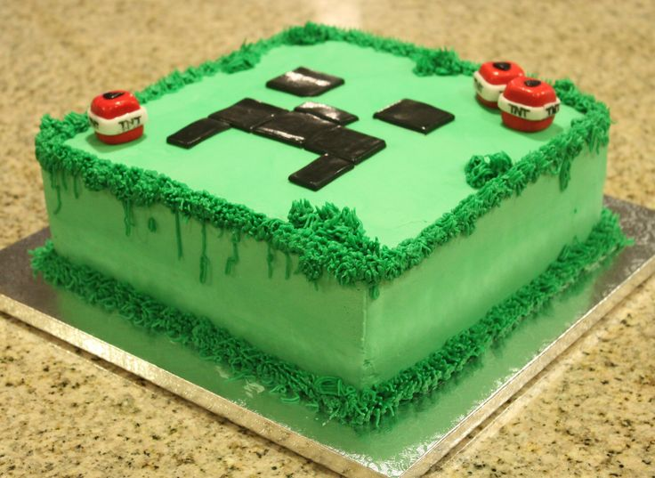 "Minecraft Creeper Cake - 9"" square cake cakesbylisabuda.weebly.com"