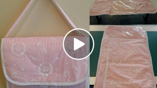 Bolsa trocador de fraldas com bolsos para lenços umedecidos, fraldas, roupinha do bebê e para pomada