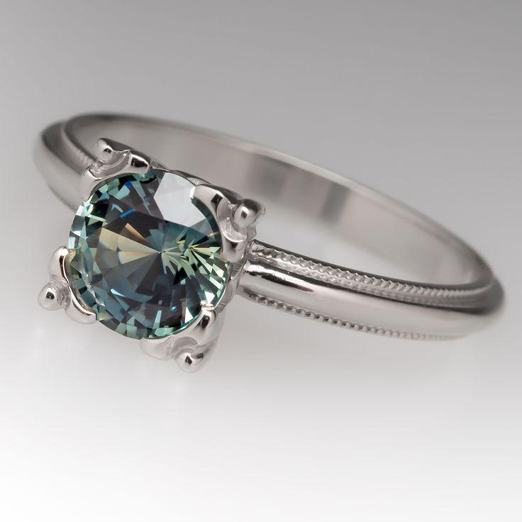 1 carat blue green sapphire squared fishtail solitaire. Black Bedroom Furniture Sets. Home Design Ideas