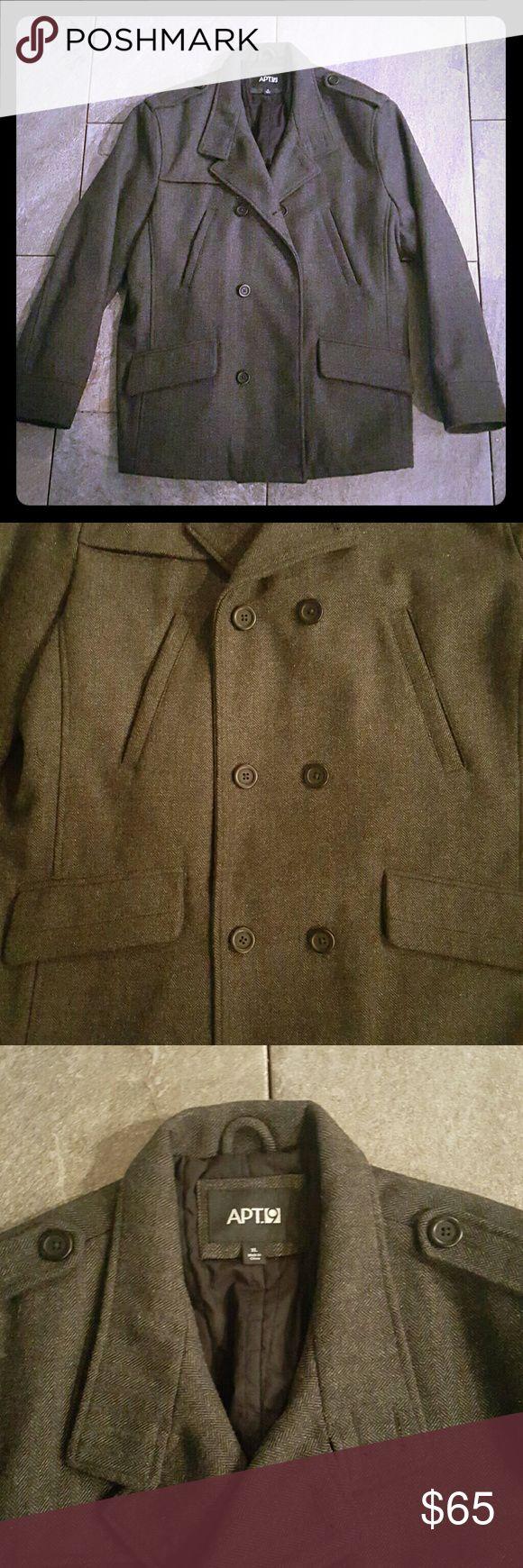 * REDUCED * Men's Dark Gray Pea Coat Men's Apt. 9 dark gray pea coat. XL. Worn once - excellent condition. Apt. 9 Jackets & Coats Pea Coats