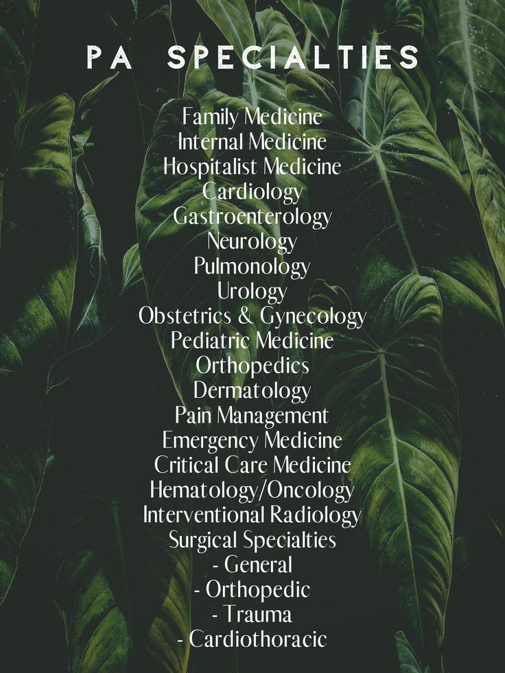 Pa specialties physician assistant specialties