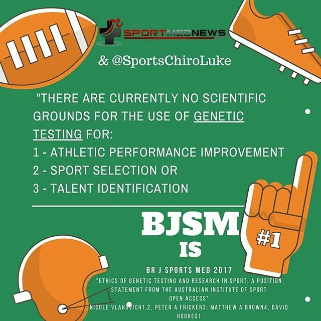 """Zero grounds for genetic testing for athlete performance improvement, ideal sport selection and talent indentification however these claims can't be backed up. @bjsm_bmj. Full link here : http://bjsmbeta.bmj.com/content/51/1/5 thank you @ausport  @DrDavidHughes  @australian_institute_of_sport for this consensus paper on genetic testing. Many will claim they have the ability to predict athletes based on genetic testing however as Steven Blair would say """"SHOW ME THE DATA!"""". It just isn't…"""