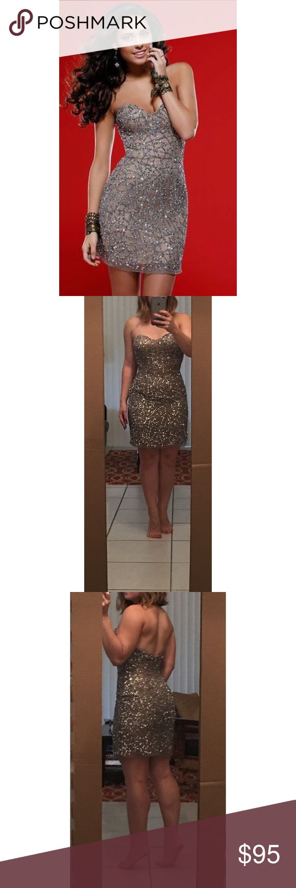 Scala Dress 47624 Full nude body, silver sequin patterned detail, strapless, fitted at waist, falls slightly loose over hips, worn twice (both times for 2-3 hours), not in original plastic slip cover Scala Dresses Strapless