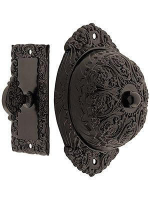 Such a unique idea... to ring this old-fashioned doorbell, turn the handle like a key in a lock. | Floral Design mechanical doorbell from houseofantiquehardware.com.