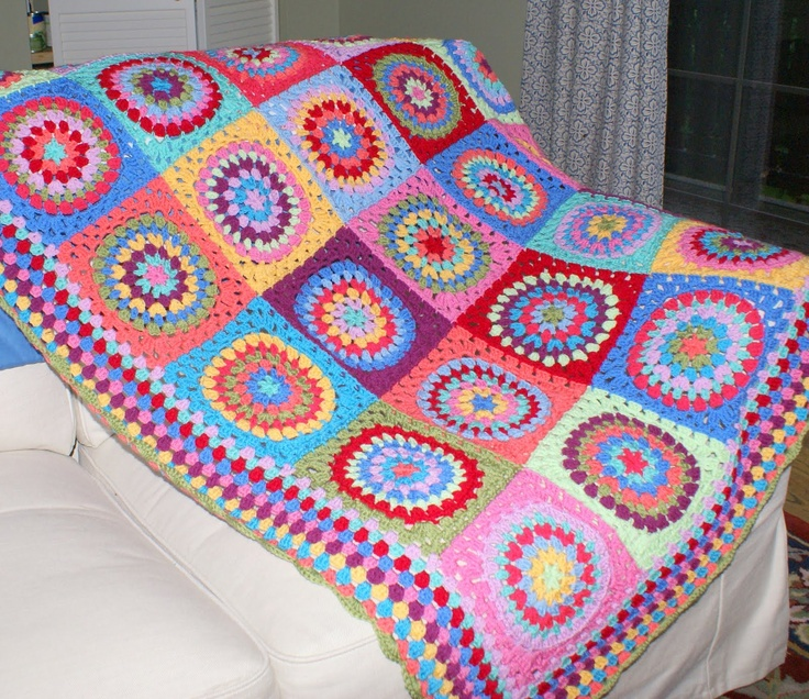 The Fiesta Blanket- pattern for square: http://signedwithanowl.blogspot.com/2011/06/squaring-big-circle-tutorial.html