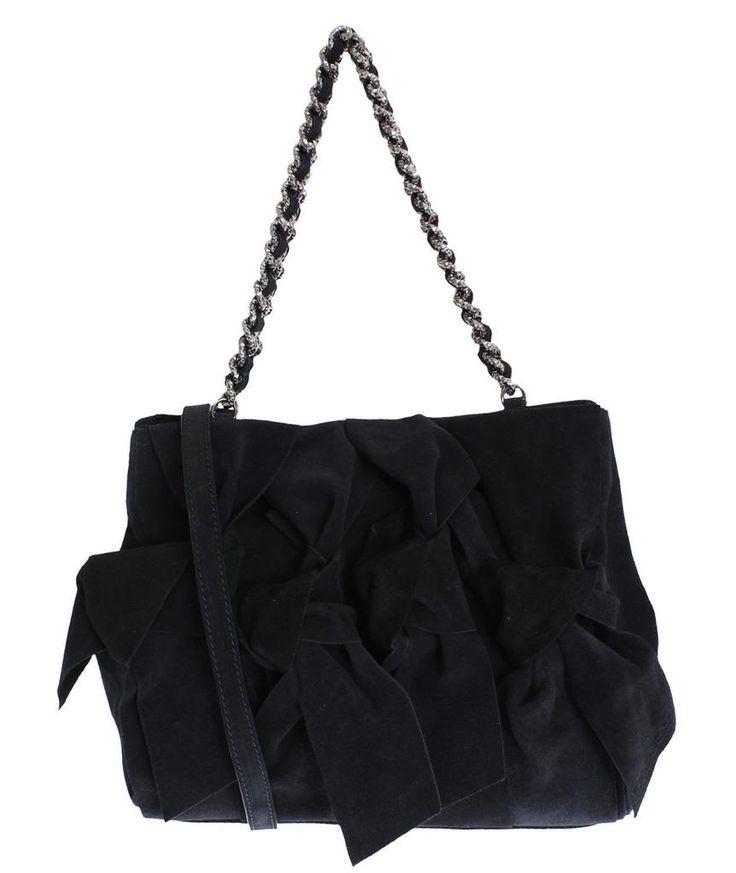 ERMANNO SCERVINO Black Suede Leather Shoulder Bag #black #cf-color-black #cf-size-medium