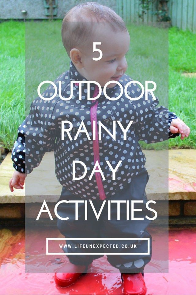 5 Outdoor Rainy Day Activities. Bored and stuck indoors in the rain? Why not head outside despite the weather and enjoy some fresh air with these rainy day outdoor activities.