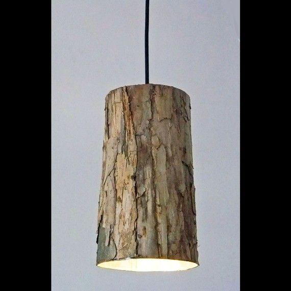 lighting Lustre tronc d'arbre bois