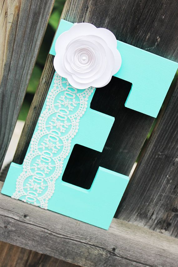 Letter E - Baby Boy - Nursery Decor - Aqua - E Name Nursery Decor - Wooden Letters - Unique Baby Gift - Paper Flower - Nursery Art on Etsy, $19.00