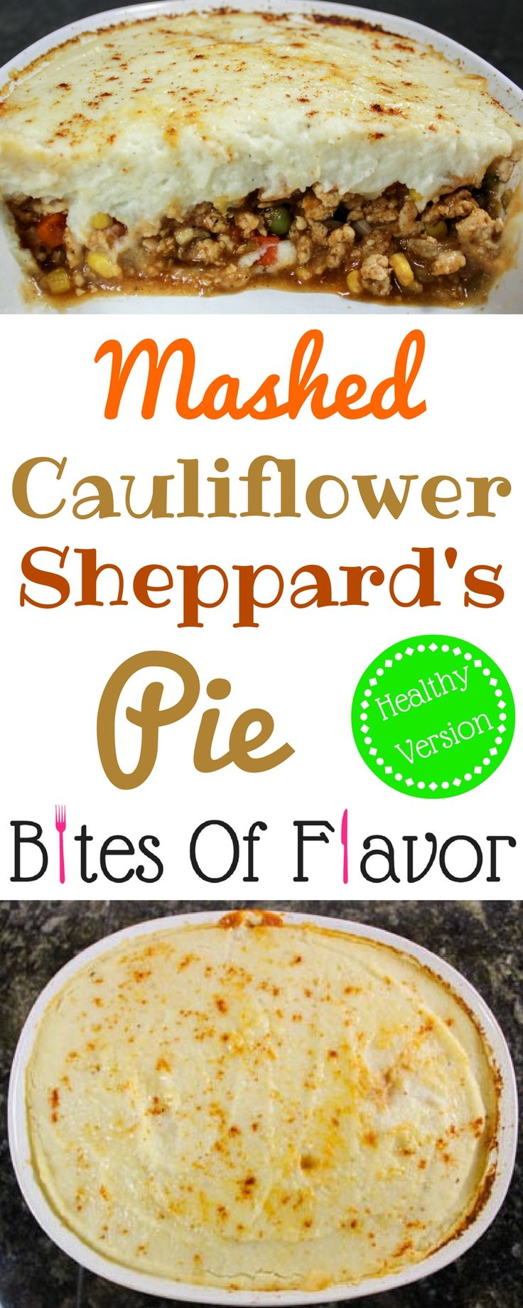 Mashed Cauliflower Sheppard's Pie- Guilt-free sheppard's pie with savory, spiced meat & veggies topped with creamy mashed cauliflower.  All the flavors of the traditional recipe without the guilt.  Weight Watcher friendly recipe. www.bitesofflavor.com