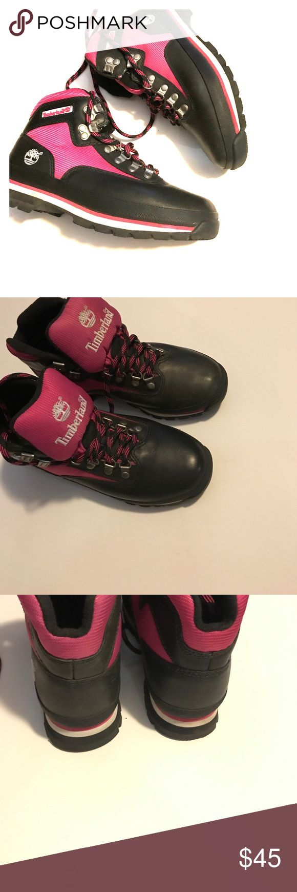 Pink and Black Timberland Pink and Black Timberland hiking boots. Worn once on vacation! OFFERS WELCOME!!!! Timberland Shoes Lace Up Boots