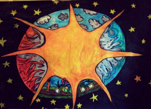 Voor de gouden zon, de zon en de vier elementen