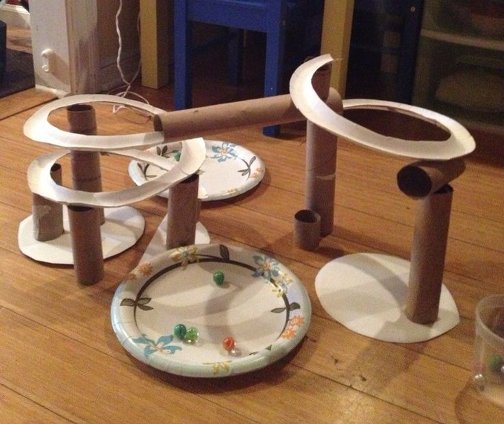 Marble run using paper plates