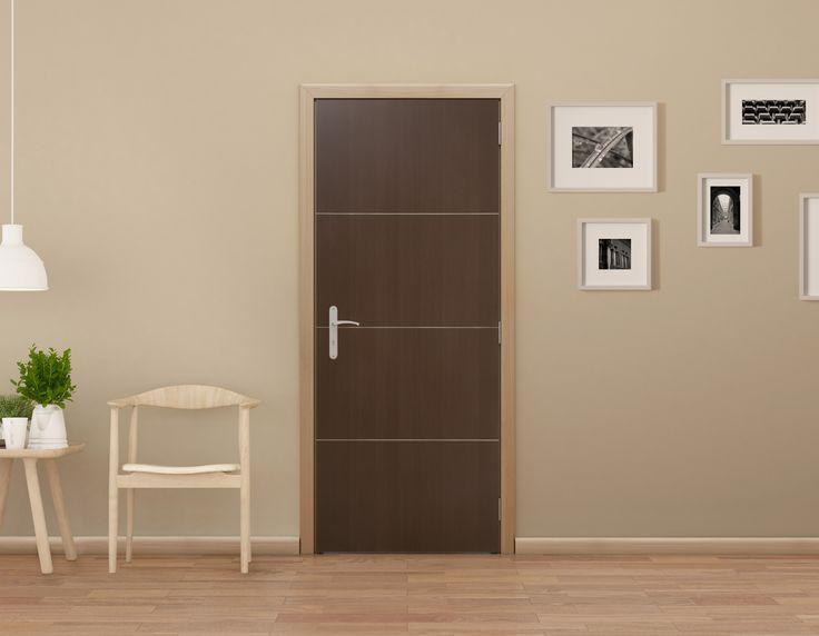 Puerta para interior color café. Modelo Lodge, medidas: 90x213cm. Servicio de corte opcional*