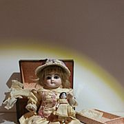 """Adorable Antique 7"""" All Bisque Wrestler Child With Trunk, Frozen Charlotte"""