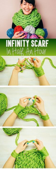 Am Knitting Tutorial - Make Your Own Infinity Scarf In Half An Hour! Click on the picture to see the full tutorial and video! :):