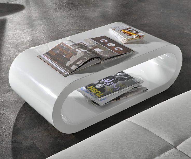 Wohnzimmertisch Lounge Club Deluxe Hochglanz Weiss 90x45 cm Tisch - wohnzimmertisch hochglanz weiß