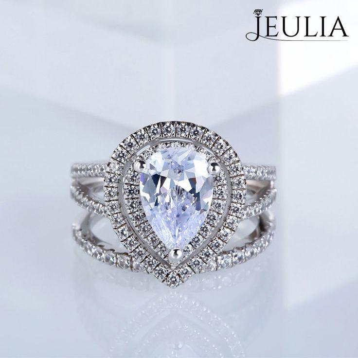 Jeulia Double Halo 2.5CT Pear Cut Created White Sapphire Wedding Set - Jeulia Jewelry
