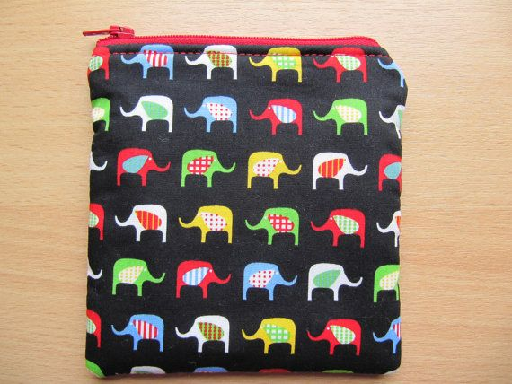Coin Purse Small Makeup Bag Elephants Padded Coin by BobbyandMeSew