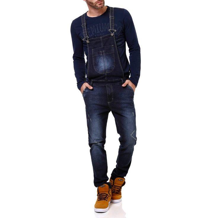 Macacão Jeans Masculino Jardineira Azul - Lojas Pompéia - LojasPompeia
